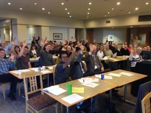 First meeting of AAUP Chapter, Seattle University, Fall 2013.